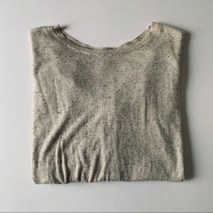Caslon Speckled Natural Crew Neck Sweater Size L